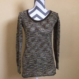 Free People Marled Green Knit Long Sleeve Sweater